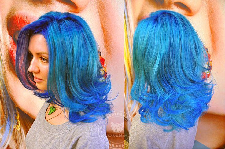 http://salon.kawaicat.ru/jarkoe_okrashivanie  - больше работ по цветному окрашиванию. Синие и голубые волосы Окрашивание волос цветным красителем Антоцианин. Anthocyanin