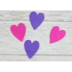 Serduszka 2,5cm x 3,5cm Różowe i Fioletowe F13 hearts