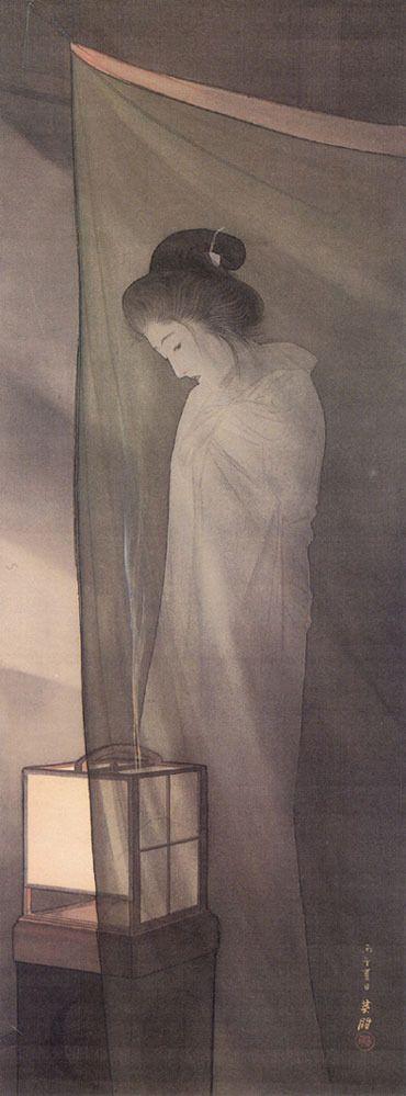鰭崎英朋「蚊帳の前の幽霊」 (通期展示) 明治39年(1906)  絹本着色 全生庵