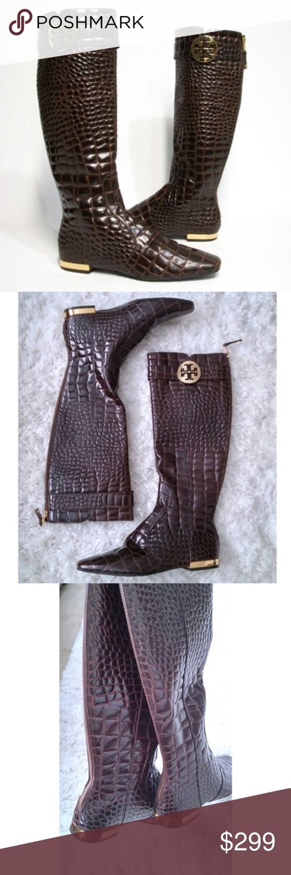 Tory Burch Brown Croc Leather Knee High Boots 6 Gorgeous Tory Burch Like New brown croc-embossed leather knee high boots.  Gold-toned hardware, back zippers and low gold-toned wrapped heel.  Women's Size 6  Excellent Condition Tory Burch Shoes Over the Knee Boots