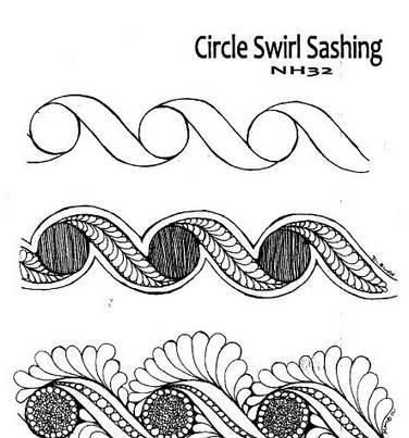 HQ quilting tip of the week: Here's another stencil embellishing idea. This example starts with a circle/swirl design. The first option has a fill in the circle and feathers in the swirl, and is then echoed with stitching around the outside.... Perfect for borders or sashing. The second example uses the outside shape as the spine for feathers, and adds pebbles and micro quilting. The stencil is NH32 from Golden Threads. http://www.goldenthreads.com/shop/product/circle-swirl-sashing/