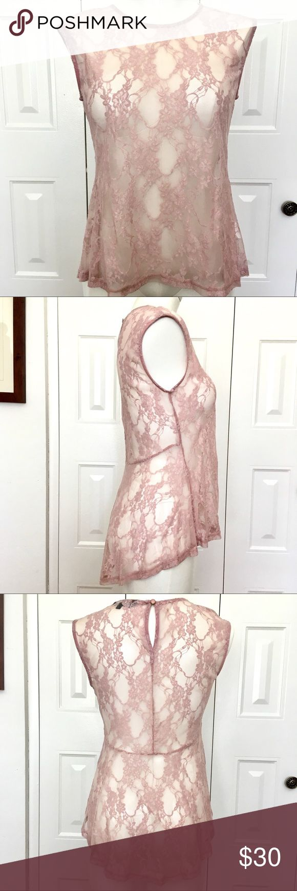 LOB rose lace peplum top NWOT Pretty dusty rose lace hi-lo peplum top is sheer and sexy and beautiful! Brand new, without tags, never worn. Size 2 in this international brand is equal to medium.   Party, wedding, date night LOB Tops