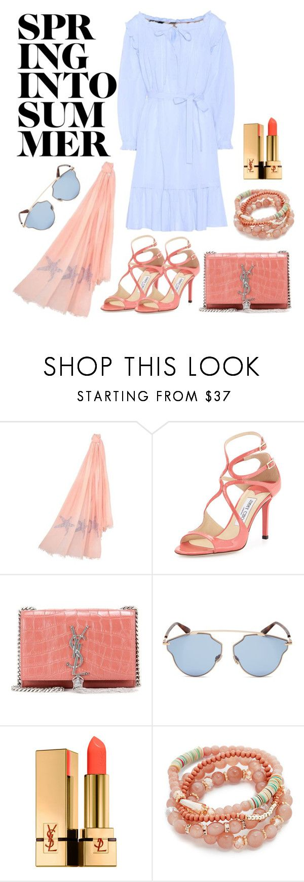 """Spring into summer"" by cashmererebeluk ❤ liked on Polyvore featuring Jimmy Choo, Yves Saint Laurent, Christian Dior, Shashi, Burberry, Summer, coral, beach, vacation and holiday"