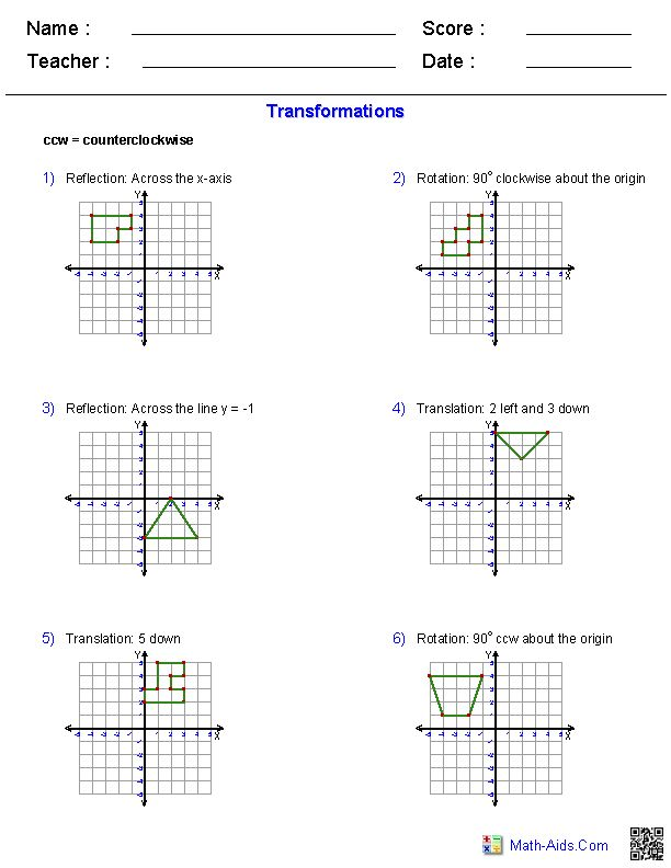 Worksheets Geometry Reflections Worksheet 1000 images about transformation translation etc these geometry worksheets will create various types of problems rotation and reflection