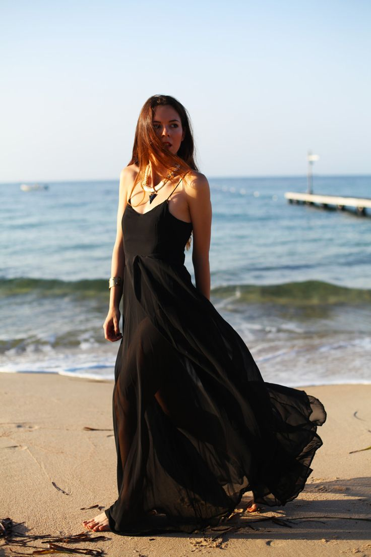 Maxi dresses are the perfect summer clothes - make sure you have one classic black one for a chic beach look