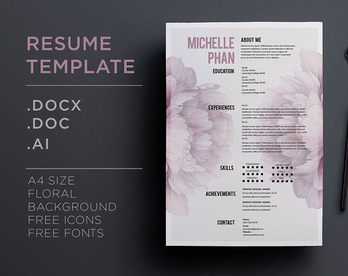 Resume Template 3 Page Cv Template Cover Letter Instant Download For Ms Word Amelia Cv Template Resume Template Resume