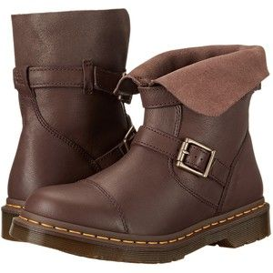 Dr. Martens Kristy Slouch Rigger Boot (Dark Brown Virginia/Darkened Suede) Women's Pull-on Boots