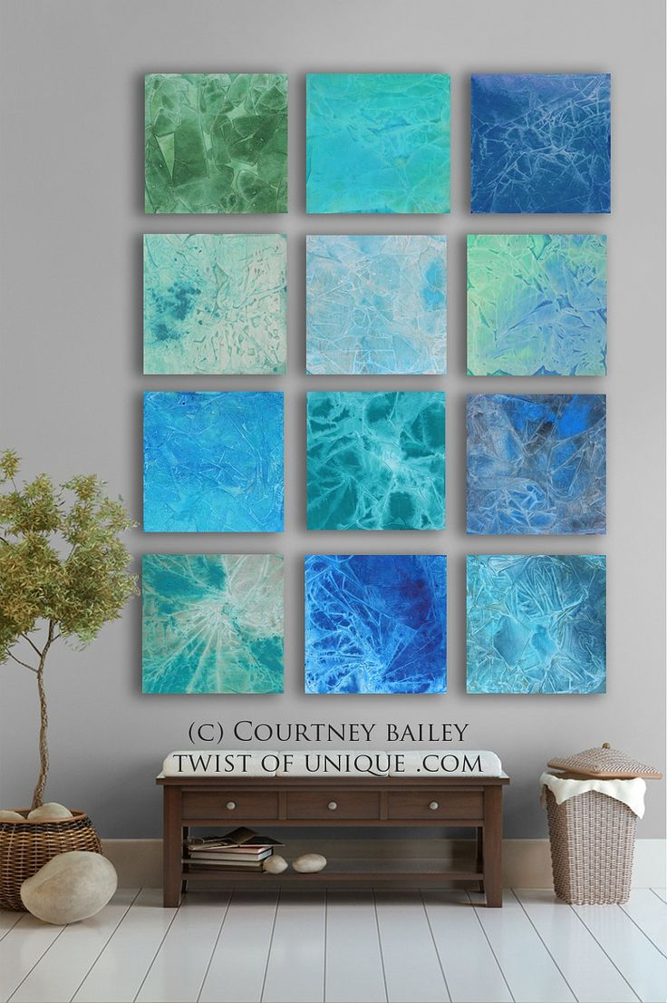 BOLD CUSTOM abstract Painting, 12 square Modern Abstract Wall Art, Large Abstract artwork,, Green, blue,