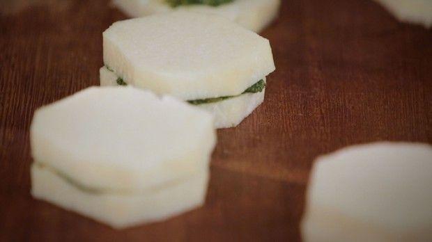 Sanduiche de cará com recheio de pesto: receita da Bela Gil para o Bela Cozinha (Foto: Divulgação/GNT)