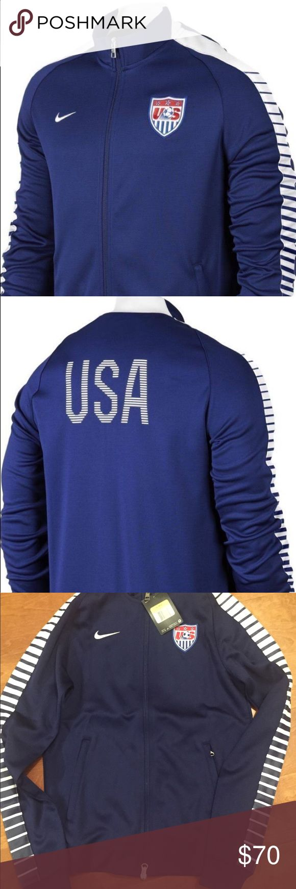 Nike USA Authentic Track Jacket National Team Thank you for looking!  NIKE  N98  USA  Womens  AUTHENTIC TRACK JACKET  BLUE WHITE ( blue and white stripes on the sleeves) Full Zip  Size S Nike Tops Sweatshirts & Hoodies