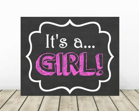It's a GIRL Chalkboard, Gender Reveal Sign, Gender Announcement Photo Prop, Baby Girl Reveal Sign, Maternity Pictures Prop, Baby Shower Sign by PrintsInspiredByMyah on Etsy