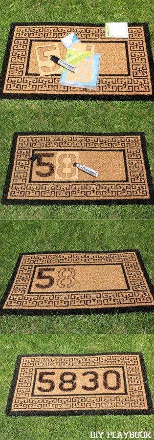 DIY your own doormat for your front porch with this easy craft. All you need is a sharpie marker and some stencils! You could even do your monogram or last name.