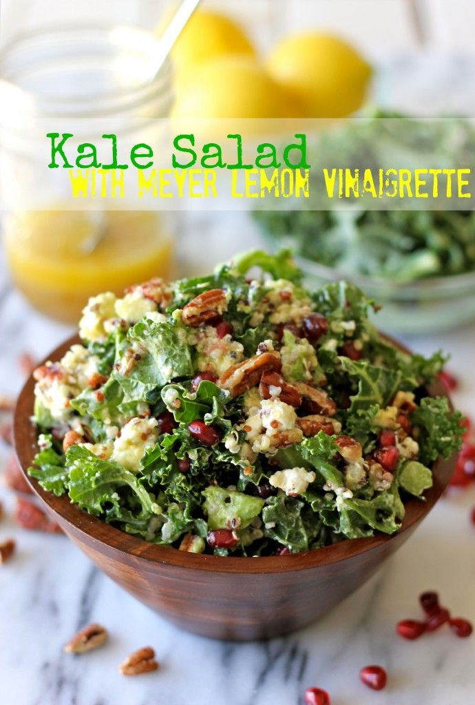 Kale Salad with Meyer Lemon Vinaigrette - Perfect as a light lunch or even a meatless Monday dinner option!Kale Salads, Food, Salad Recipe, Kalesalad, Pomegranates Seeds, Lemon Vinaigrette, Goats Cheese, Goat Cheese, Meyers Lemon