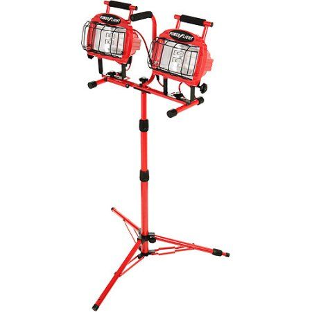 Designers Edge 1200W Halogen Twin Head Tripod Work Light with Weatherproof Switches, 7' Cord, Red, Multicolor