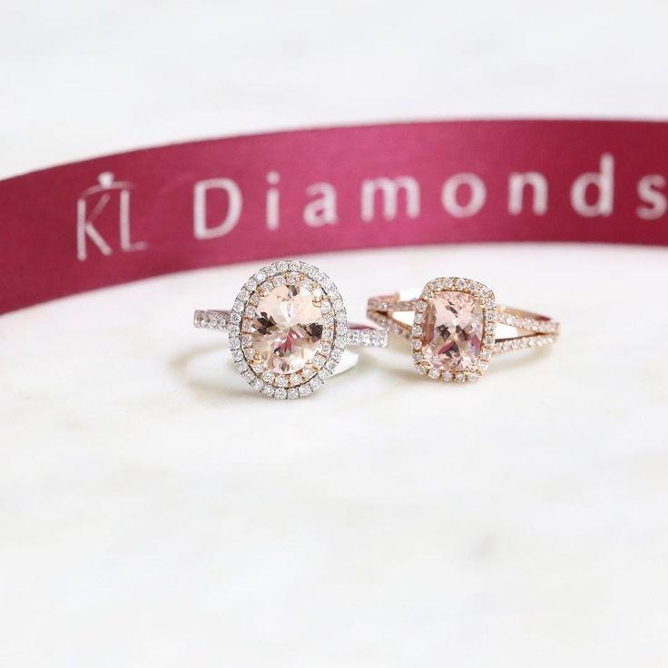 Morganite favourites, oval cut double halo or cushion cut single halo // KL Diamonds