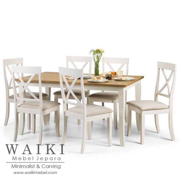 Meja Makan Keluarga Kecil Finishing Duco Jepara kualitas ekspor. Produsen set kursi meja makan keluarga shabby chic 6 kursi cat duco putih Jepara.