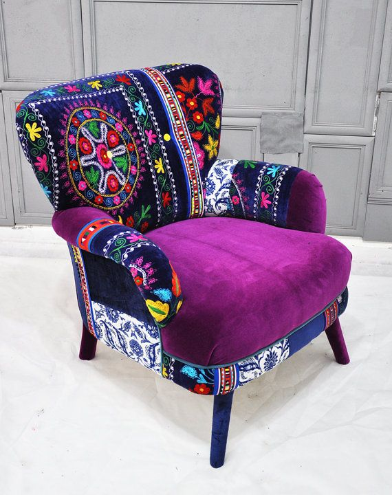Patchwork armchair with Suzani fabrics  I want a room where a chair like this would fit nicely. A she-cave.