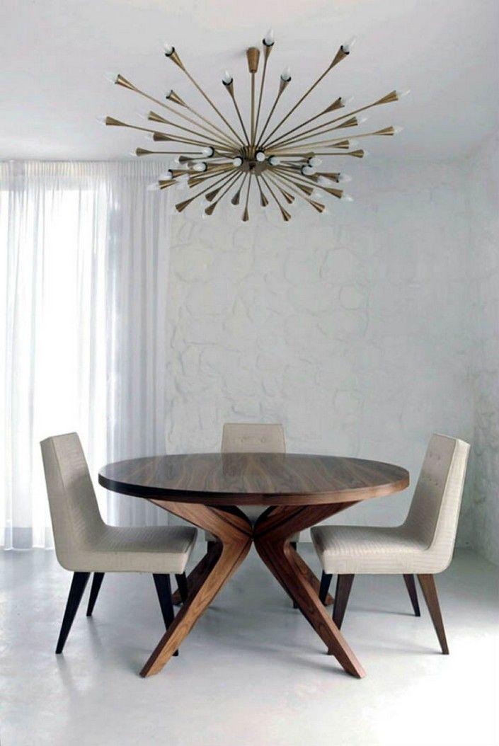 love this chandelier in a midcentury modern design 24 midcentury modern interior decor ideas via brit co dining room near fire