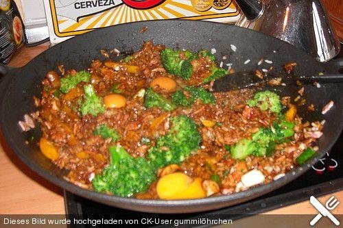 Gebratener Reis mit Ei und gekochtem Schinken, ein sehr schönes Rezept aus der Kategorie Eier. Bewertungen: 5. Durchschnitt: Ø 3,4.