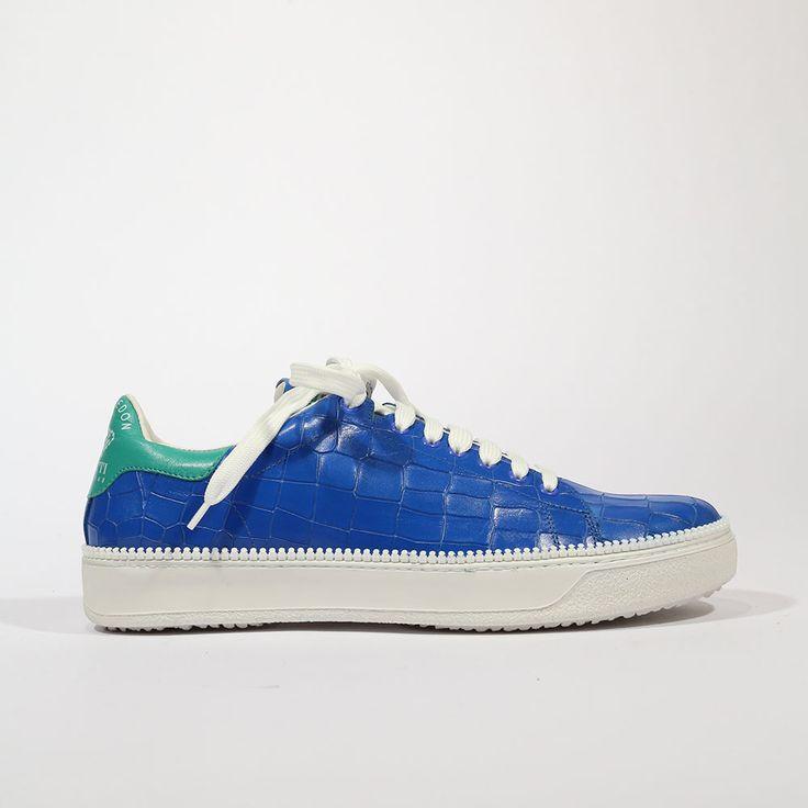 Cesare Paciotti Men's Wimbledon Cocco Lux Denim Blue Sneakers (CPM5346)