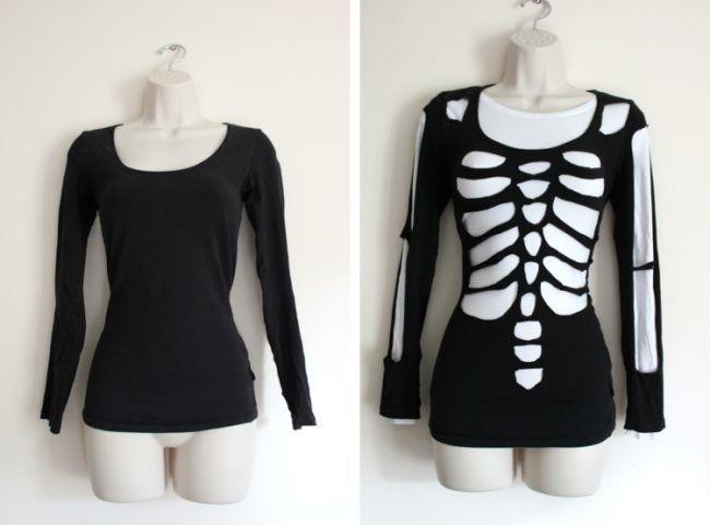halloween kostueme selber machen skelett-einfach-diy-shirt-schwarz-weiss