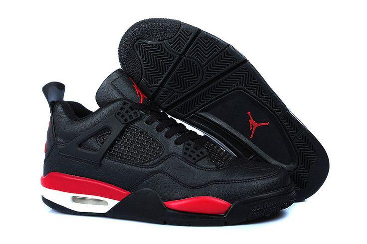 Baratos sapatos Air Jordan 4 Masculino Retro preto vermelho