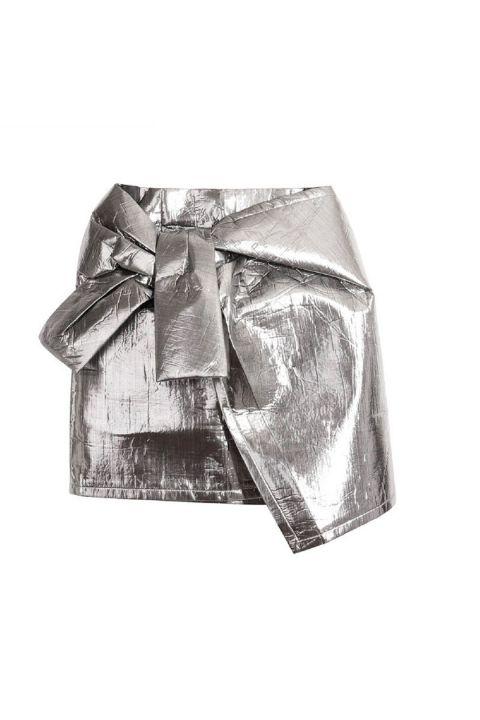 Ilqara Silver Bow Tie High Waist Skirt: Lidyana.com