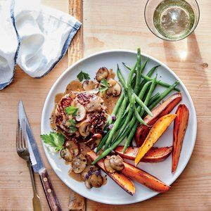 Microwaving the potatoes gets them tender in minutes; roasting gets them the crispy edge we love. This balanced dinner is a great...