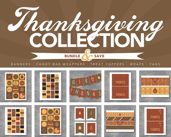 Thanksgiving Printables! Huge collection of coordinating Thanksgiving printables including an alphabet banner, candy bar wrappers, treat toppers, tags, candle wraps, water bottle labels, gifts, favors and more! Great for Thanksgiving decor and gifts! By Studio 120 Underground, $15.