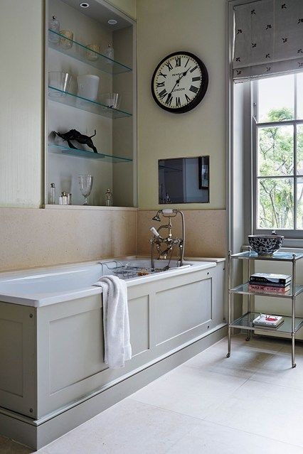 Shaded White Grey Bathrooms Wooden Clock And Small Bathroom