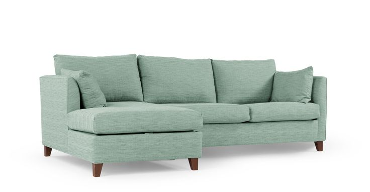 Bari, canapé-lit d'angle gauche avec compartiment de rangement, bleu mentholé