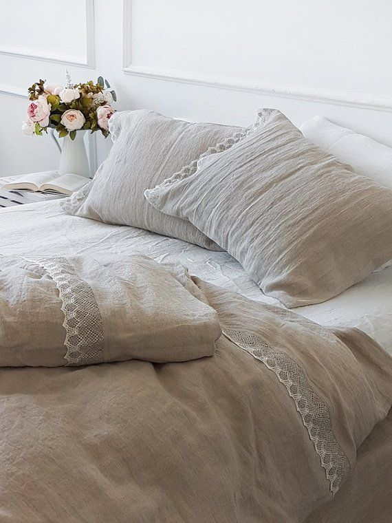 3 Pcs Natural Flax Lace Linen Bedding Set Softened Heavier Etsy Chic Bedding Sets Bed Linen Sets Lace Bedding