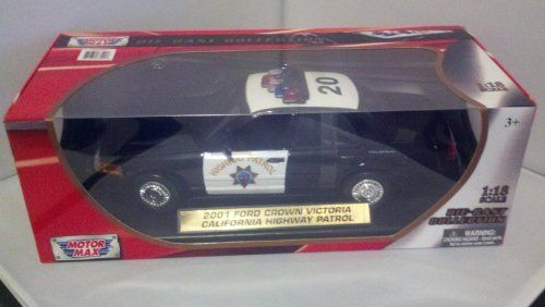 MotorMax 2001 Ford Crown Victoria California Highway Patrol Die-cast 1:18 Scale Collectible Model Car (Black) by MotorMax. $31.95. Die cast 2001 Ford Crown Victoria California Highway Patrol in 1:18 scale. Realistic detailing, opening doors and hood, moving rubber tires, gleaming chrome-look trim, detailed engine compartment, and more.  Comes with a display stand that has gold car ID label.