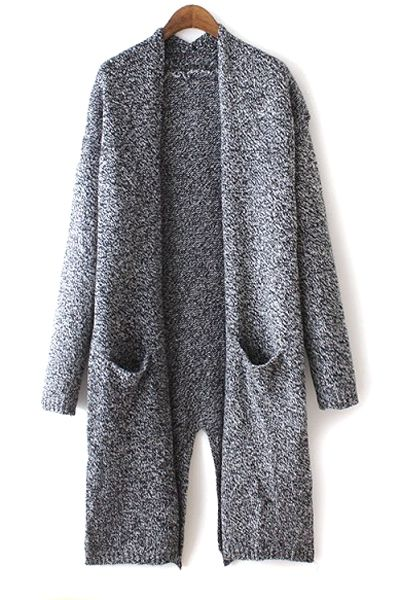 Back Slit Gray Long Cardigan DEEP GRAY: Sweaters | ZAFUL