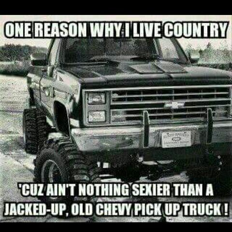 ❤️Living country because of the jacked up Chevy!