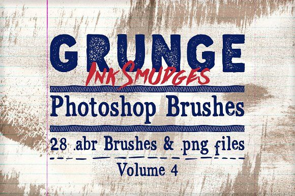 Grunge Ink Photoshop Brushes Vol 4 by Clikchic Designs on @creativemarket