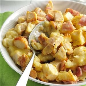 Ham 'n' Swiss Chicken Recipe -This saucy casserole allows you to enjoy all the rich, traditional flavor of Cordon Bleu with less effort. It's a snap to layer the ingredients and let them cook all afternoon. Just toss a salad to make this meal complete. —Dorothy Witmer Ephrata, Pennsylvania