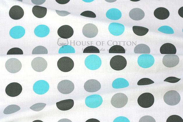 House of Cotton ~ Grey & aqua dots cotton fabric (tissu coton à pois gris et bleus) ~ tissu gros pois / bleu clair / gris / gris foncé ~ salle de bain