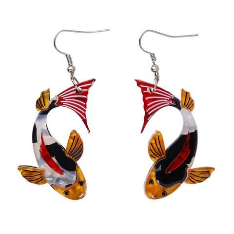 """Erstwilder Collectable Playing Koi Earrings. """"You can dispatch the pretense of timidity. After all, I'm designed to be decorative and I'd love to be friends."""""""