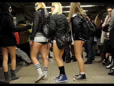 """New York City this Sunday, January 13, 2013 (and 50 worldwide countries)  ~ annual """"pants free subway ride"""" where all participants travel """"nonchalant"""""""