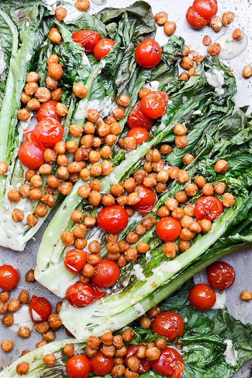 Grilled Romaine Salad with Roasted Chickpeas and Tomatoes…