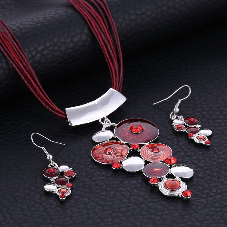 Paradise Circles Necklace & Earring Set - Red www.evcostudio.online Tribal Jewelry Ethnic Jewellery Fashion Jewelry Women's Accessories Brown Necklace Silver Necklace Necklace & Earring Set Pendant Necklace Statement Necklace Choker Sweater Necklace Leather Red Necklace Charm Necklace Jewelry Set Jewellery Set