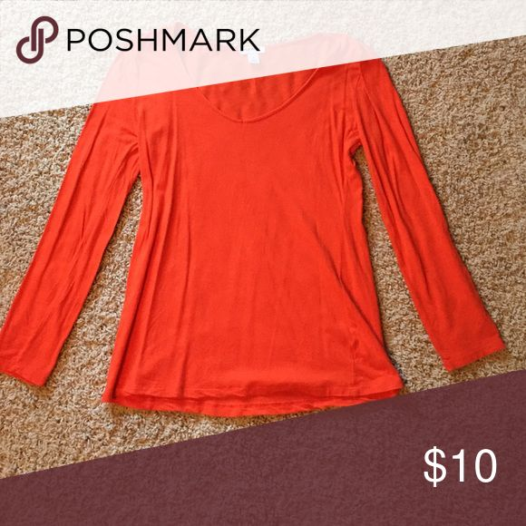 Orange shirt Orange shirt from Old Navy. Flattering and soft. No flaws. Size small Old Navy Tops Tees - Long Sleeve