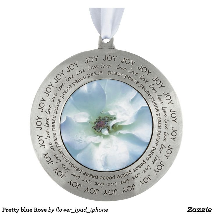 Pretty blue Rose Round Pewter Christmas Ornament