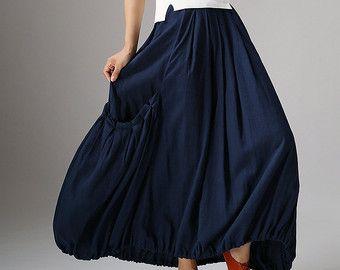 Grey Maxi Skirt Long Linen Skirt Pleat Skirt-Woman от xiaolizi