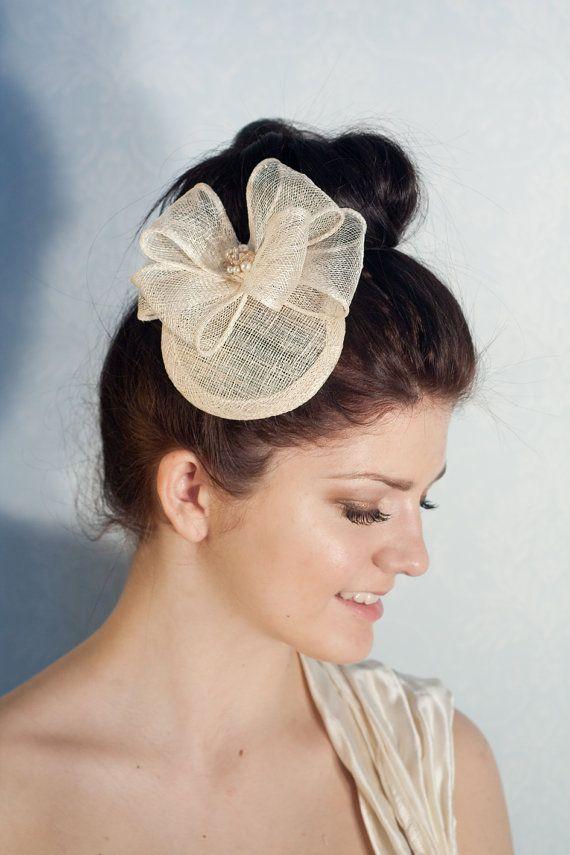 Bridal Bows and Swarovski Pearls Hat, Bridal Headpiece, MIllinery Sinamay Hat, Bridesmaid Fascinator