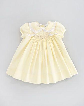 Ralph Lauren Childrenswear Scalloped Smocked Poplin Dress   Bergdorf Goodman