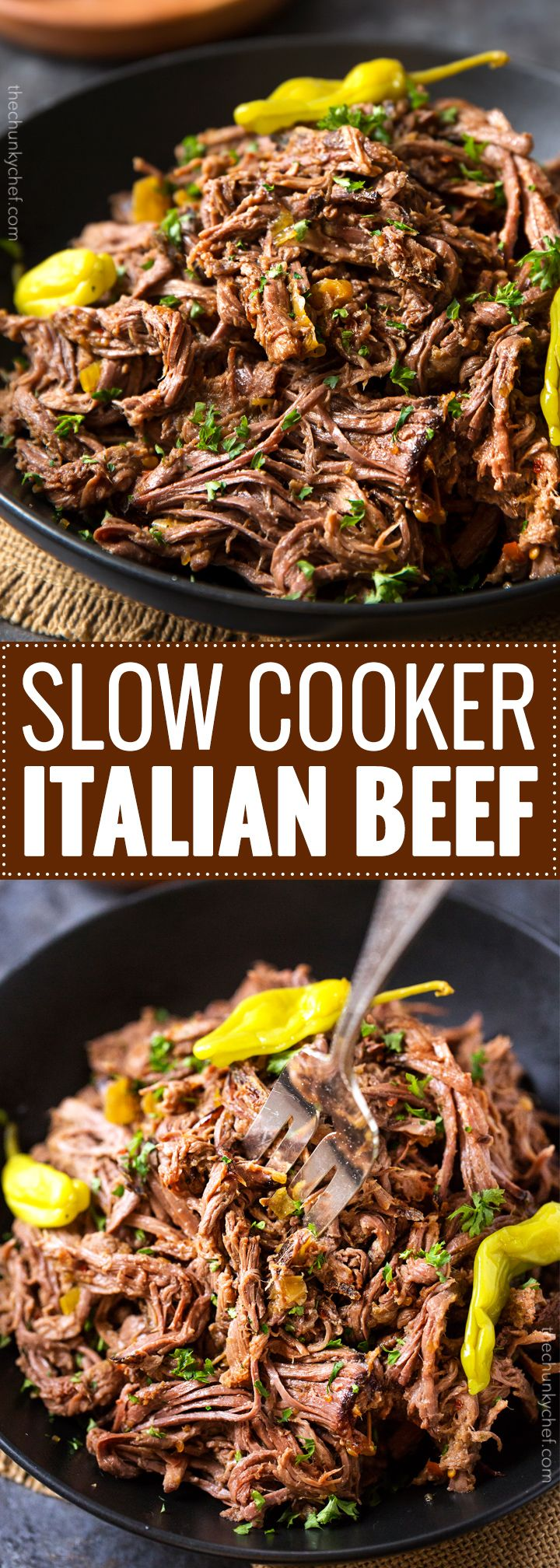 Slow Cooker Shredded Italian Beef | Tangy and spicy, this Italian beef is easily…