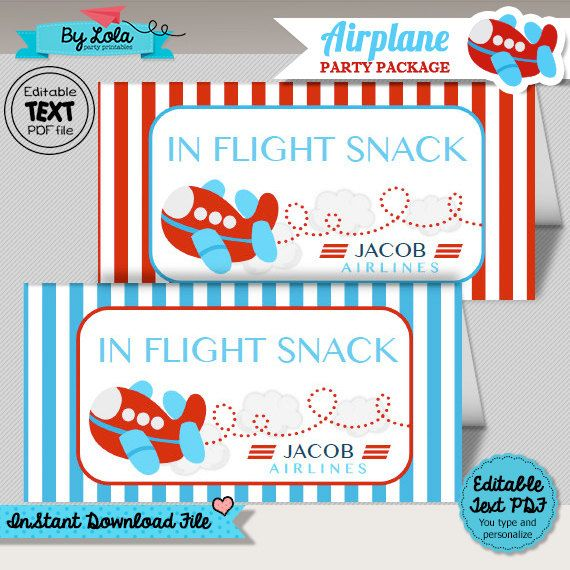 Instant Download - Editable Airplane Birthday Party/Baby Shower Bag Toppers - Aeroplane Aviator Treat Bag Topper Printable PDF File  by ByLolaPrintables