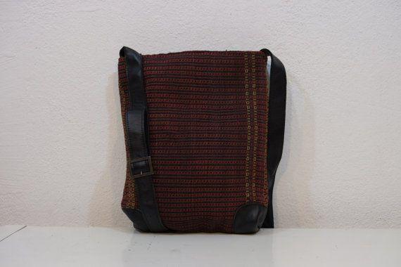 100%wool & leatherShoulder HANDWOVEN Vintage Kilim by kilimci